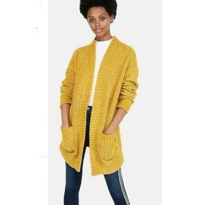 Express mustard yellow chenille cardigan NWOT